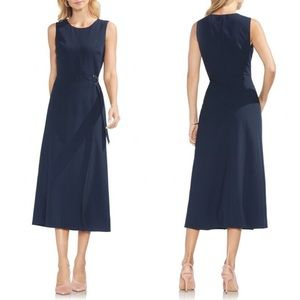 Vince Camuto Navy Pin Stripe Midi Wrap Dress